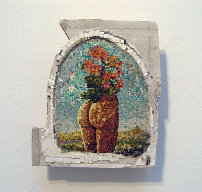 """Paula Wilson paper mosaic of ass with flowers"""