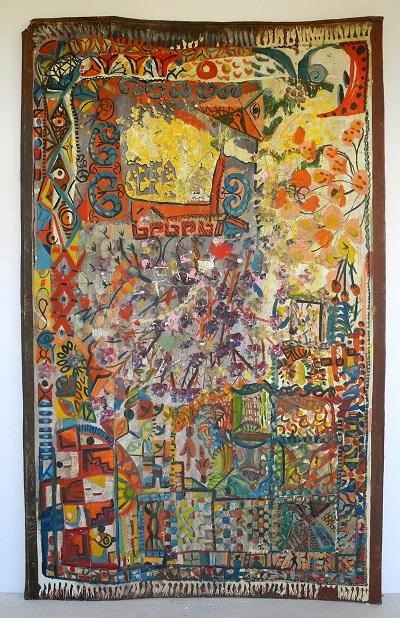 """Paula Wilson painting abstract rug"""