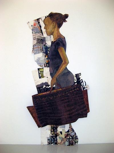 """Paula Wilson paper self portrait"""