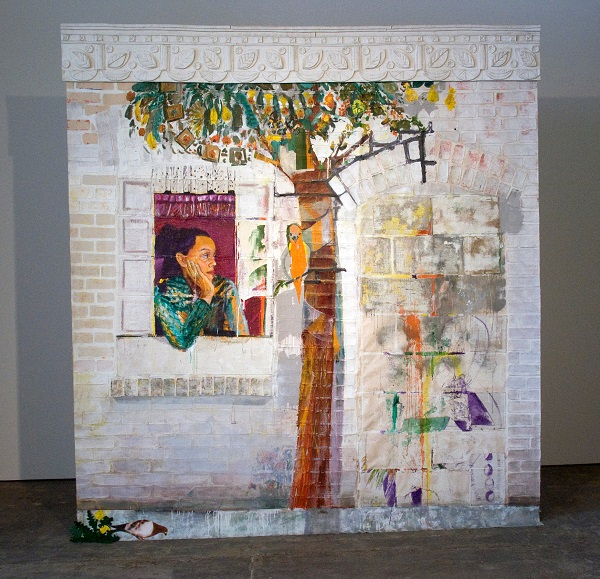 """Paula Wilson wall sized painting of brick with self portrait"""
