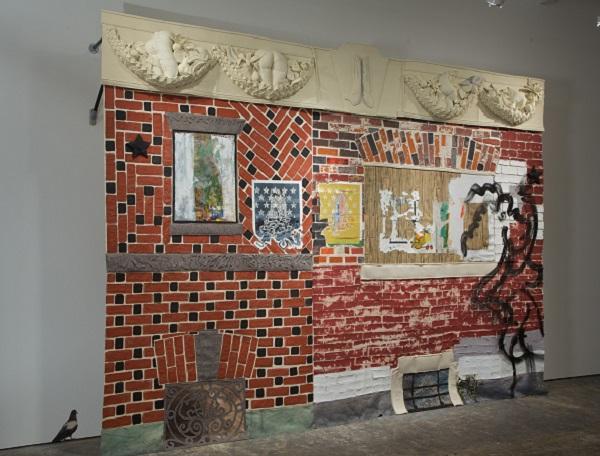 """Paula Wilson fabric brick wall"""