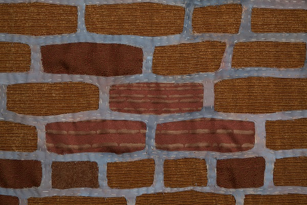 """Paula Wilson bricks sewn fabric"""