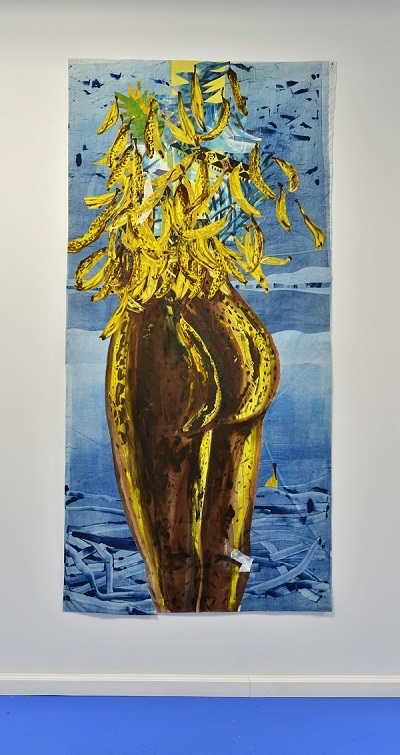 Brown Banana Bottom 93 ½ x 44 inches monotype, acrylic, and oil on muslin 2015